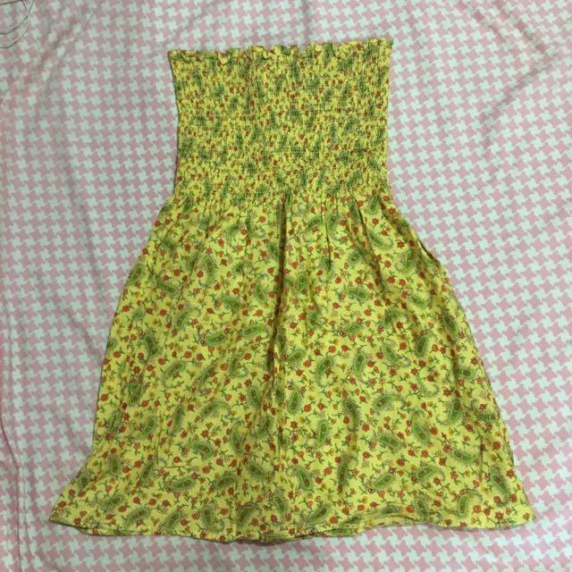 Yellow Paisley Tube Summer Dress