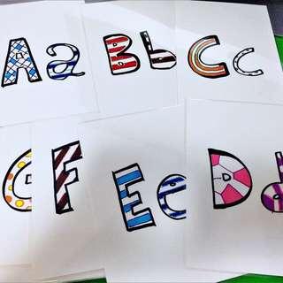Handmade Alphabet Flashcards (laminated)