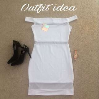 Misguided White Bodycon dress (UK 14/US 10)