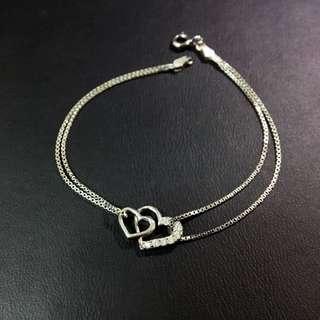 🚚 💞全新 日本帶回 925純銀 水鑽 雙愛心 手鍊 銀飾