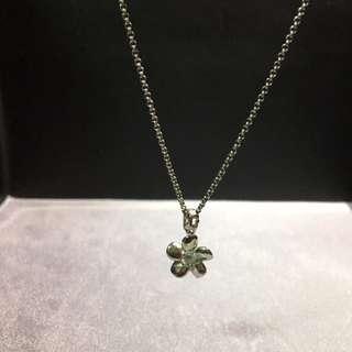 🚚 🌸全新 赤軍 設計款 925純銀 雙面墜 立體水鑽花朵 雙戴 銀飾