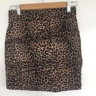 BARDOT leopard print MINI SKIRT