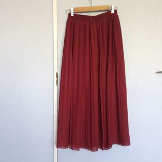 Maroon Pleated Midi Skirt