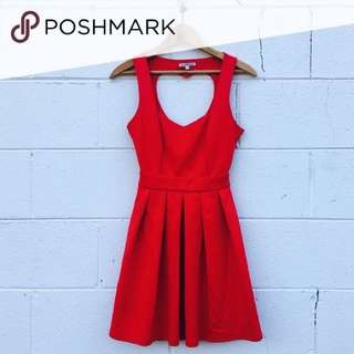 RED HEART CUT OUT BACK DRESS