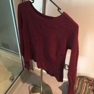 Maroon Knitted Log Sleeve Crop Top
