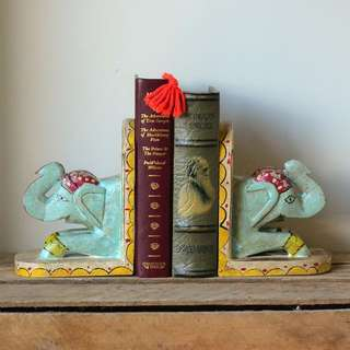 Colourful Painted Elephant Bookends