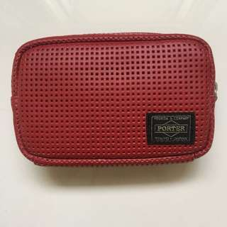 - BRAND NEW - Unisex PORTER Tokyo Red Leather Pouch