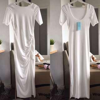 Low Back Front Slit Maxi Dress