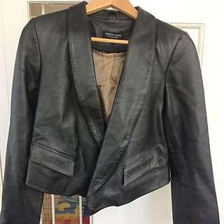 White Suede Black Leather Jacket Size 10