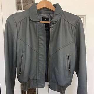 Grab Denim Light Grey Leather Jacket Size M