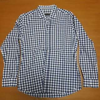 ORIGINAL MASSIMO DUTTI Navy Blue WHITE CHECKERED SHIRT
