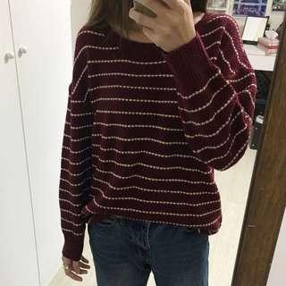 全新 酒紅色 條紋 毛衣 針織