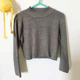 Khaki Knitted Crop Top