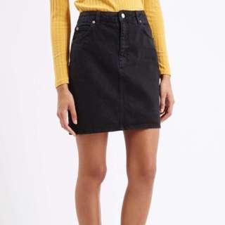 Black Washed Out Denim Skirt