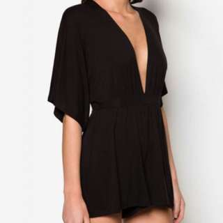 Black Plunge Topshop Playsuit