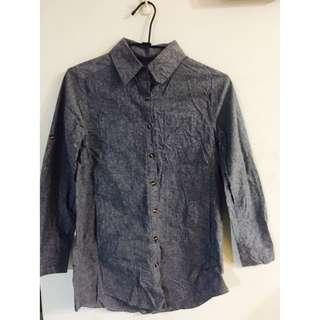 麻灰色長版襯衫