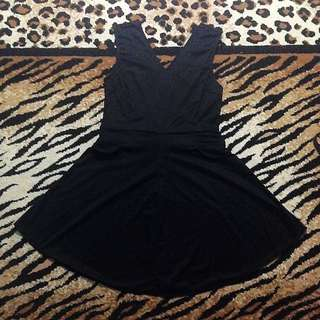 Mini Dress Sleveeless Black Hitam