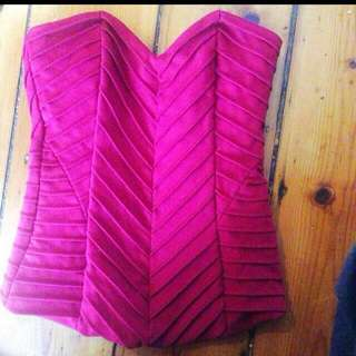 Size6 Reduced Hot Pink Corset Bodice Crop Top