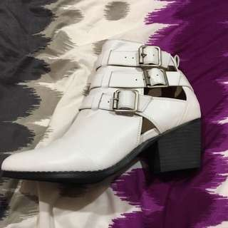 Leather White Ankle Boots