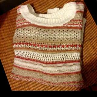 Size 10 Burnt Orange & White Knit Jumper