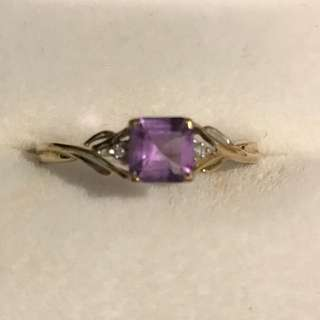 9ct Gold Amethyst With Diamonds