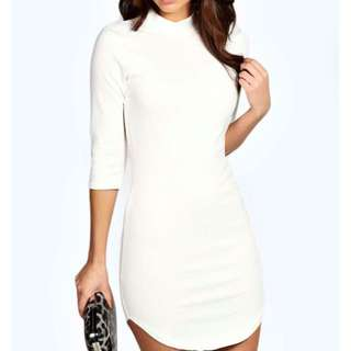 Boohoo 3/4 Sleeve Lauren Dress In White
