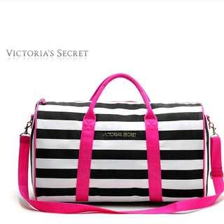 [Include Postage] Victoria's Secret Stripe Duffel Bag / Victoria Secret Travel Bag