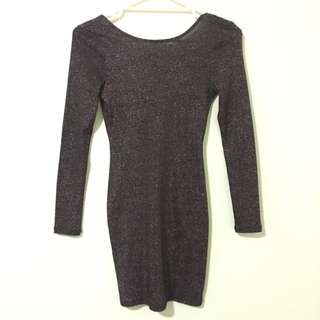 H&M Sparkly Purple Bodycon Dress Size 6