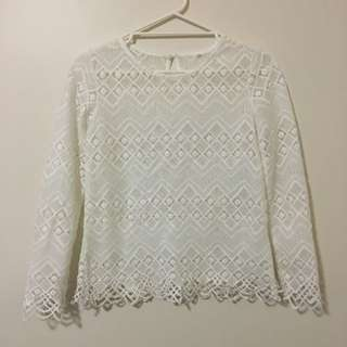 White Laced Top Size S/M