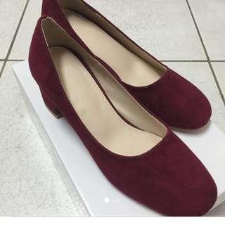 全新韓國betts酒紅色跟鞋