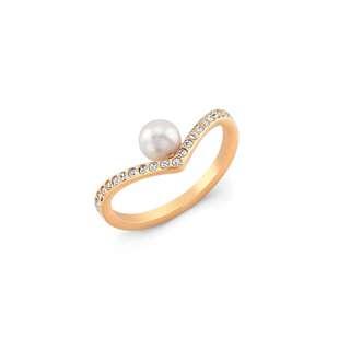 Vita Fede 珍珠有鑽V型戒
