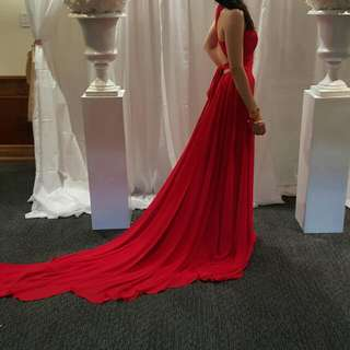 Red Gown with Train