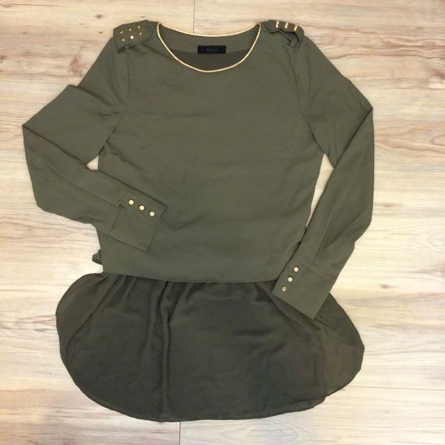 正韓|軍綠帥氣洋裝