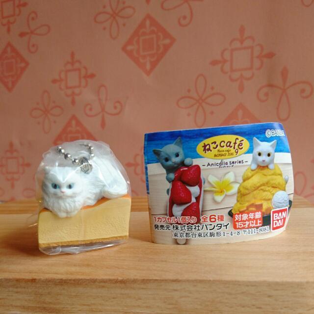全新 扭蛋 貓咪 貓咪咖啡屋9 點心貓 起士蛋糕 白貓