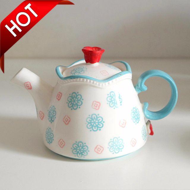 出口歐洲 釉下彩 陶瓷茶壺 過濾壺 花茶壺 下午茶 小清新手繪蘭花泡茶壺 茶具 時尚 奶茶 咖啡 貴婦 禮物