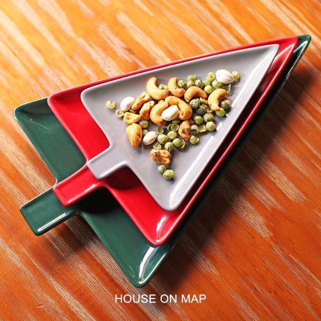 聖誕節 創意 聖誕樹盤 樹形盤 三角盤 點心盤 糖果盤 擺盤 佈置 派對 裝飾 聖誕禮物 交換禮物 禮物