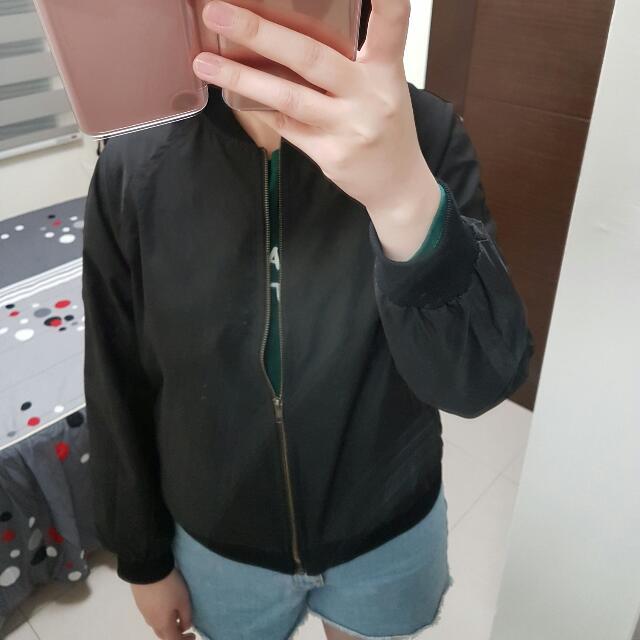 正韓 韓製 黑色簡約帥氣MA-1 軍裝外套 飛行外套 風衣 made in korea