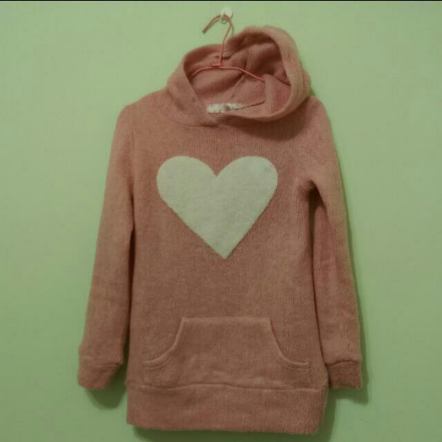 韓。冬。厚 針織毛衣大愛心連帽T 保暖款 口袋 粉紅色