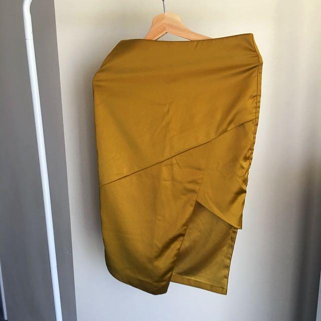 Asymmetrical Mini Metallic Bardot Skirt