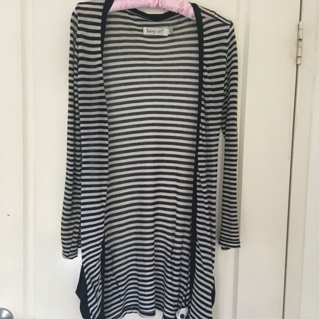 Black And White Stripped Lightweight Cardigan