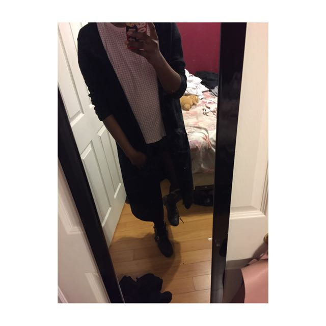 Black Oversized Long Cardigan W/ Pockets