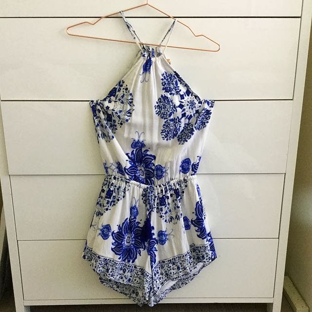 Blue And White Open Back Play Suit