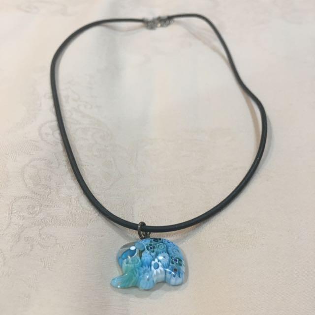 Blue Elephant Necklace