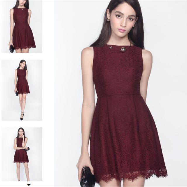 BNWT Fayth Loewe Lace Dress In Deep Red Size M