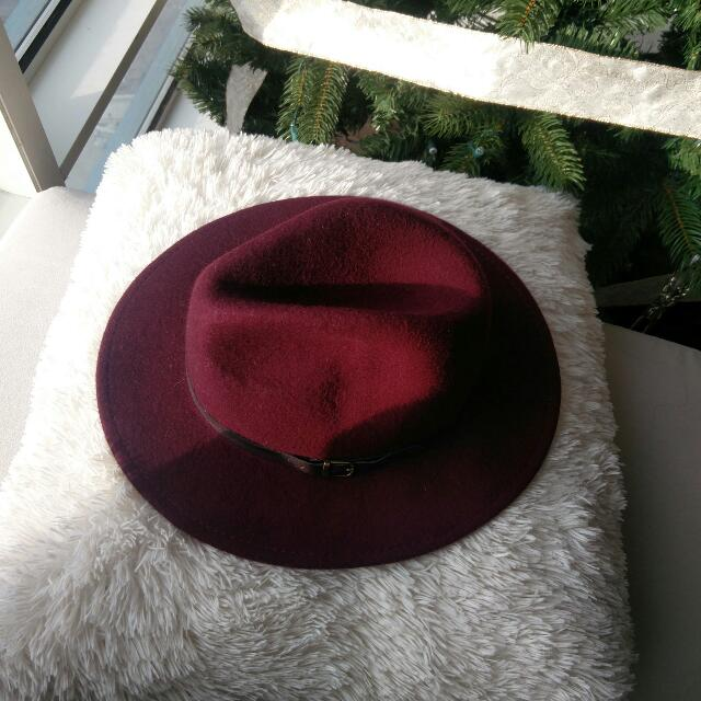 Burgundy Wide Rimmed Hat