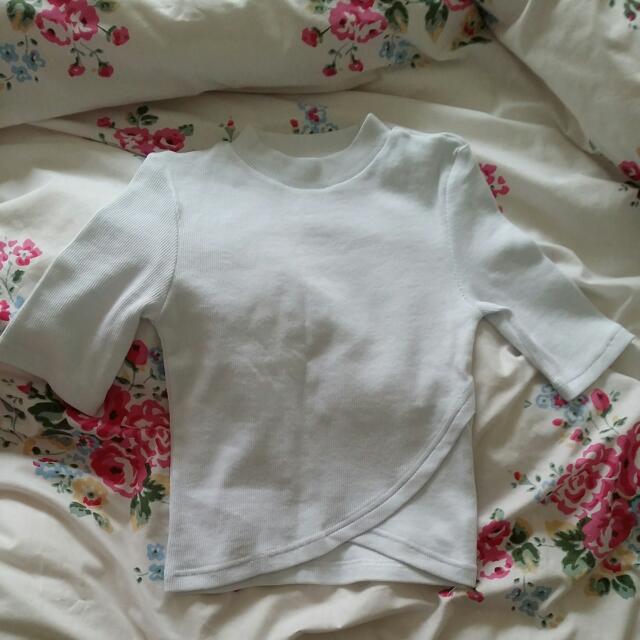 Crop Tops Stripes Pink White Size 6 XS