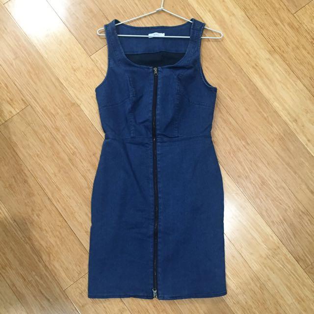 Denim Zip Front Bodycon Dress Sz 10