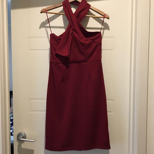 DIVINE AVENUE Selena Halter Dress In Wine, Size 10