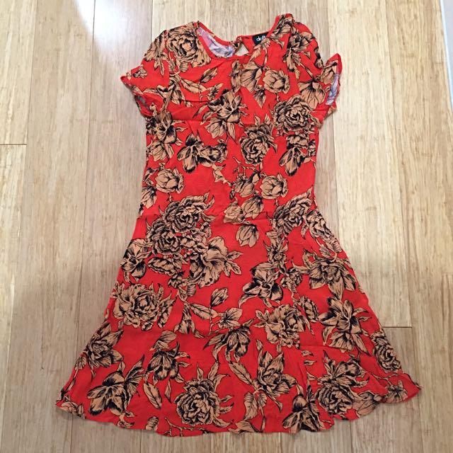 Dotti Floral Bias Cut Mini dress Sz 8