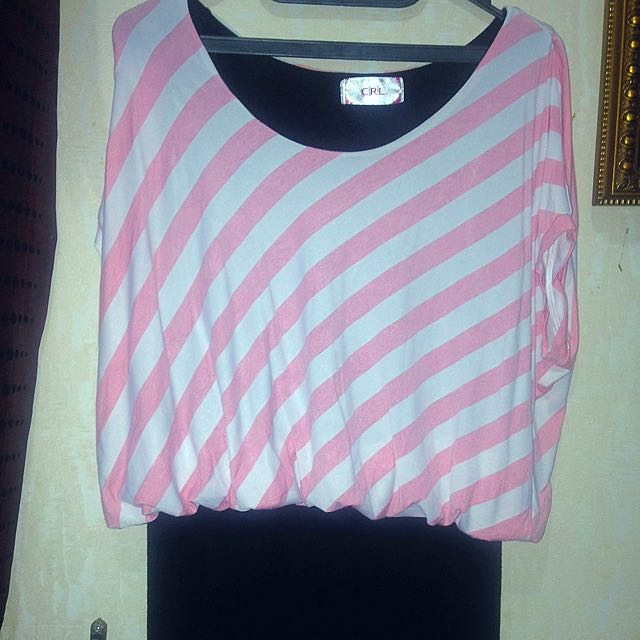 dress pink-black skirt
